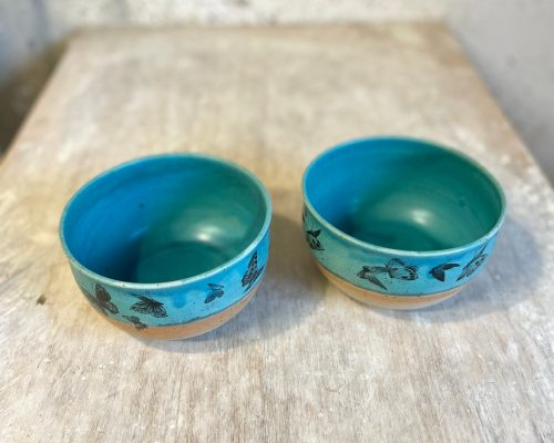 Pottery bowl, handmade ceramic buddha bowl, handmade food serving bowl, handthrown bowl, flower pot, turquoise bowl with butterflies