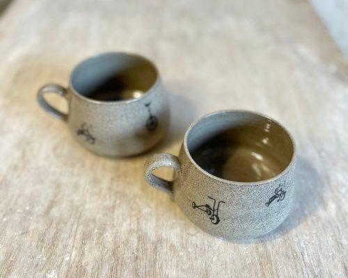 Bicycle themed coffee mug – Coffee mug handmade – Grey ceramic mug  – Breakfast ceramic mug – Coffee lover pottery mug
