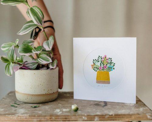 Ceramic Succulent Pot and Greeting Card Set – Flower planter – Mat white planter – Turquoise flower planter – Handmade gift card