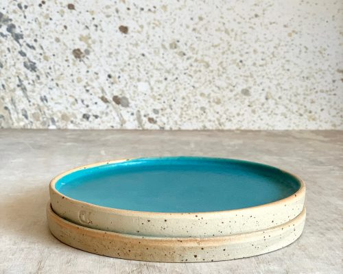 Turquoise side plate – Handmade ceramic plate – Small handmade plate – Pottery turquoise side plate – Birthday gift idea – Anniversary gift