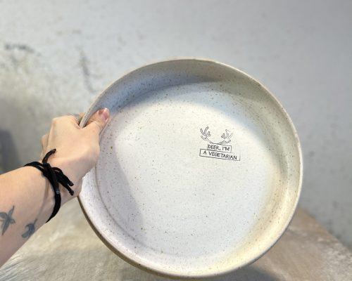 Vegetarian large serving plate – Handmade ceramic plate – Vegetarian gift idea – White ceramic plate – Birthday gift