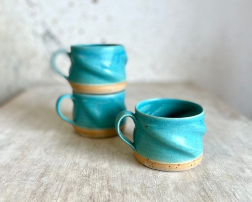 Turquoise coffee mug – Handmade swirly mug – Ceramic morning coffee mug – Coffee lover gift – Mother's day gift