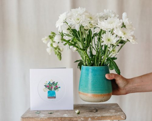 Turquoise Stoneware Vase and Greeting card set, Simplicity and Minimalism, Handmade Ceramics, Handmade card, Perfect gift idea, Gift for her