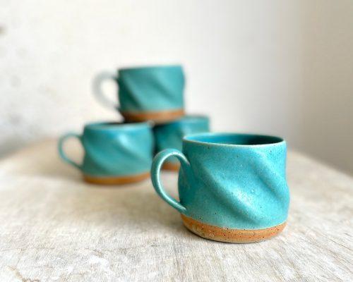 Blue coffee mug – Handmade swirly mug – Ceramic morning coffee mug – Coffee lover gift – Mother's day gift