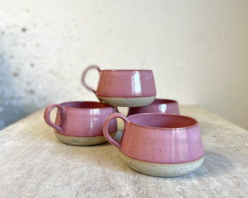 Pink handmade coffee mug – Ceramic morning coffee mug – Coffee lover pin mug – Morning essential mug – Perfect coffee mug – Pottery mug